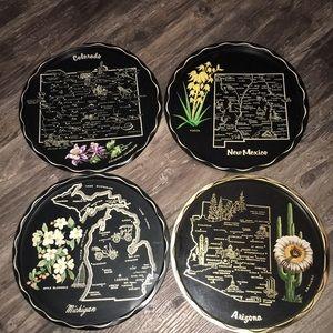 Vintage Metal round State Trays